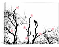 Silhouettes and blossoms, Canvas Print