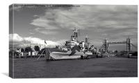 HMS Belfast in black and white, Canvas Print