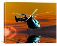 Kent air ambulance (solarised), Canvas Print