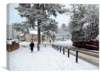 Snowfall in Horsell, Surrey., Canvas Print