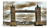 Sepia Tower Bridge, Canvas Print