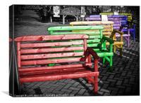 Colourful Garden chairs., Canvas Print