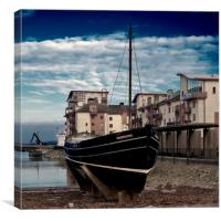The Watchful at Ayr Harbour, Canvas Print