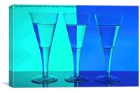 Three Wine Glasses in Blue, Canvas Print