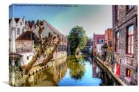 Canal In Brugge, Canvas Print