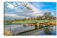 Green Bridge Reflection , Canvas Print