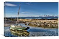 Boat in Portencross Harbour, Canvas Print