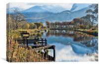 Caledonian Canal and the Nevis Range, Canvas Print