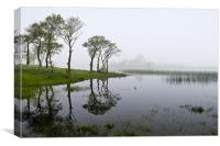 Misty tree reflections Loch Awe, Canvas Print