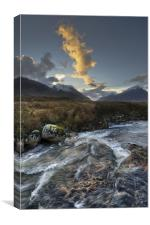 Rapids, Glen Etive, dusk, Canvas Print
