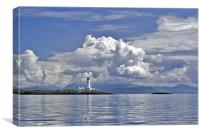 Summer clouds over Eilean Musdile lighthouse light, Canvas Print