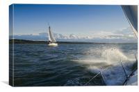 Two yachts sailing hard to windward, Canvas Print