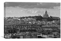 Sacre Coeur over rooftops B&W, Canvas Print