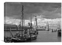 Boats, Shard, bridge, B&W, Canvas Print