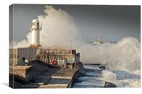 Incoming tide South Gare, Canvas Print
