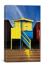 Oops colourful beach hut, Canvas Print