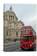 London red bus and St Paul's, Canvas Print