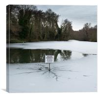 Frozen pond: no parking, Canvas Print