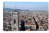 Campanile and rooftops, Florence, Canvas Print