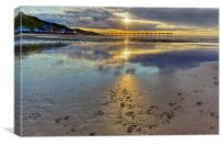 Sun ray sunset Saltburn, Canvas Print