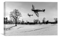 Boys will be boys: low-flying Spitfires B&W, Canvas Print