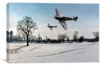 Boys will be boys: low-flying Spitfires, Canvas Print