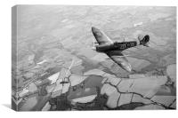 Spitfire victory black and white version, Canvas Print