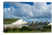 Seven Sisters cliffs and coastguard cottages, Canvas Print