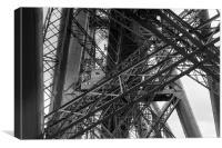 Forth Rail Bridge girders black and white version, Canvas Print