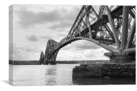 Forth Rail Bridge north east view black and white , Canvas Print