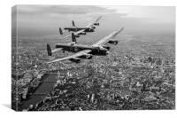 Two Lancasters over Londonblack and white version, Canvas Print
