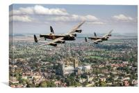 Two Lancasters over Lincoln Cathedral, Canvas Print