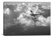 Soaring silver Spitfire cloudscape black and white, Canvas Print