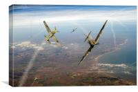 Spitfire and Bf 109 in Battle of Britain duel , Canvas Print