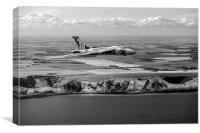 Avro Vulcan over the white cliffs of Dover, B&W ve, Canvas Print