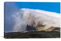 Storr veiled in cloud, Canvas Print