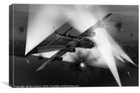 Short Stirling LK386 battling through B&W version, Canvas Print