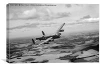 Lancaster PA474 over England B&W version, Canvas Print