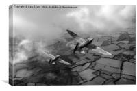Spitfires among low clouds B&W version, Canvas Print