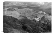 Vulcan low-level in the Lakes B&W version, Canvas Print