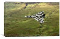 Vulcan B2 low-level against hillside, Canvas Print
