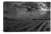 RAF Lysander on secret operation, B&W version, Canvas Print
