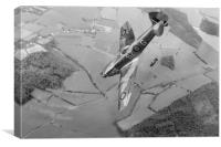 Dive bombing Spitfire XVI, B&W version, Canvas Print