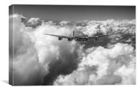Avro Lancaster LM227 above clouds B&W version, Canvas Print