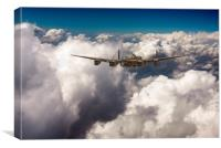 Avro Lancaster LM227 above clouds, Canvas Print