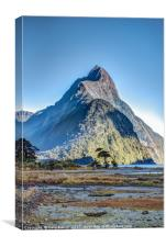 Mitre Peak at low tide, Canvas Print
