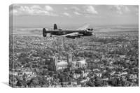 """""""City of Lincoln"""" over the City of Lincoln, B&W ve, Canvas Print"""