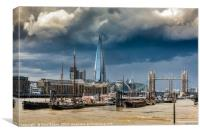 Storm looming over The Shard and Tower Bridge, Canvas Print