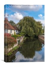 Cottages and stream, Coggeshall, Canvas Print