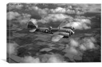 Bristol Blenheim in flight B&W version, Canvas Print